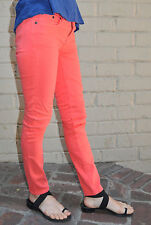 J. Crew Ankle Toothpick Fluorescent Orange Stretch Denim Jeans 25
