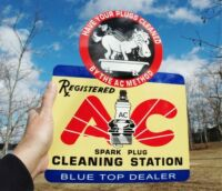 OLD STYLE BLUE TOP AC SPARK PLUG DONKEY FLANGE SIGN THICK STEEL PAINTED USA MADE