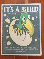 Cleveland Sam Fox IT'S A BIRD Sheet Music EGG HATCH DECO art Raggy 1917 Kaufman
