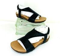 Aetrex Womens Melanie SC400WM Leather Slingback Black Cut-Out Sandals 10 M