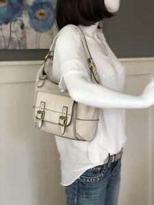 "FOSSIL ""Tate"" IVORY WHITE LEATHER Small-Medium Hobo Shoulder Handbag Purse Tote"