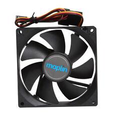 Maplin 92mm Black PC Case Fan Noise Level 22.5 DB Cooling 3-pin 4-pin Connectors