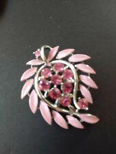 Vintage Lisner Pink Enamel Rhinestone Leaf Brooch