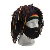 Beard Face Mask For Men Handmade Crocheted Costume Winter Hat Wig Rasta Caveman