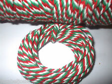 5 or10 metres of 4mm Chunky RED/GREEN/WHITE Cotton Bakers Twine  Christmas Tags