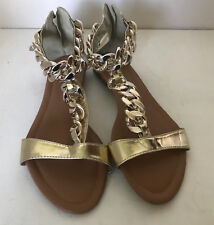 NEW! FOREVER NINI GOLD CHAIN STRAP FLATS GLADIATOR SANDALS SHOES 7.5 38 SALE
