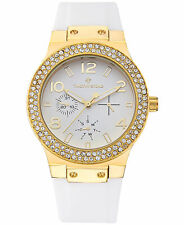 Timothy Stone Women's 'Facon' Gold & White Crystal Accented Silicone Strap Watch