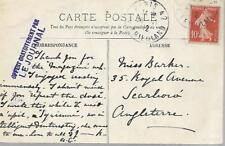 France 1912 Postacrd With 10c To England My Ref 76