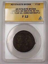 574-575 Byzan Silver Coin Justin II AE Follis Constantinople ANACS F-12 PRX