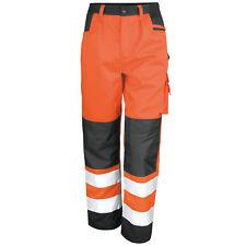Result Hi Vis Safety Trousers High Viz Traffic Pants Knee Pad Pockets (R327X)