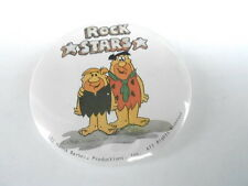 VINTAGE PINBACK BUTTON #52- 042 - THE FLINTSTONES - FRED & BARNEY - ROCK STARS