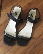 CK Calvin Klein Vintage 100% Leather BROWN Sandals UK5 Made In Italy