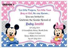 1 x GENDER REVEAL BABY SHOWER MINNIE & MICKEY PERSONALISED INVITATIONS + MAGNETS