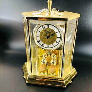 Howard Miller Mantle Clock #612455 Etched Flowers Glass Brass Gold Works