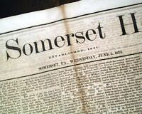 Rare SOMERSET PA Pennsylvania FIRE Disaster 18th Century 1872 Old Newspaper
