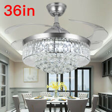 """New Listing36"""" Silver Invisable Ceiling Fan Lamp Crystal Led Lighting Remote Chandeliers"""