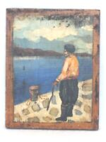 Vintage Primitive Folk Art Man Ocean Sea Sailor Fisherman Nautical Painting Wood