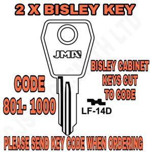 Bisley Filing Cabinet Keys Cut to Code Number 801-1000