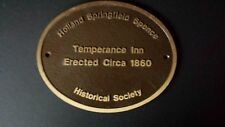 Bronze VTG Historical Society Plaque Ohio Holland Springfield Spence Temperance