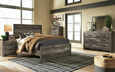 NEW Modern Brownish Gray Bedroom Furniture - 5pcs Queen Size Panel Bed Set IA1J