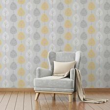 Fine Decor Wallpaper - Feature Tree Foliage - Grey / Yellow / White - FD41594