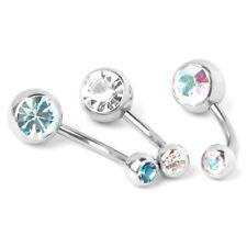 8x Rhinestone Titanium body jewelry navel piercing K1G8
