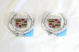 CADILLAC SAIL PANEL SIDE WREATH CREST SET- 60'S 70'S 80'S 90'S NEW 4 PIECES