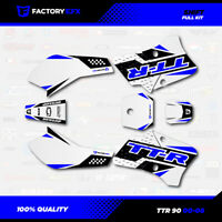 White & Blue Shift Racing Graphics Kit fits 00-08 YAMAHA TTR90 TTR 90 decal