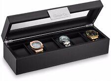 Large 6 Slot Watch Box for Men - Carbon Fiber Design Display Case Holder -Black