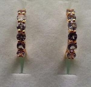 14K Gold Overlay 925 Sterling Silver Tanzanite Diamond Hoop Earrings #8