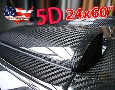 "5D Ultra Gloss Glossy Black Carbon Fiber Vinyl Wrap Sticker Decal 24x60"" US Ship"