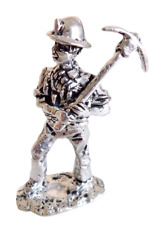 Wales Welsh Coal Miner With Pick Pewter Ornament - Hand Made In Cornwall
