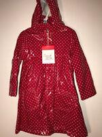 NWT Deux par Deux fun baby girl red w/ white polka dots rain Coat 24M 4y 5y B50