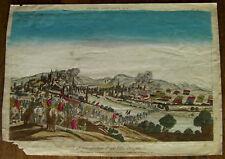 Gravure aquarellée XVIIIème sur vergé vue d'une ville assiègée engraving stampa