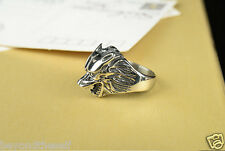 animal wolf Roar Men's domineering personality influx of people Alloy Ring 8--9#