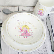 Personalised Childrens Fairy Breakfast Set Ceramic Plate Mug Bowl Lunch Dinner