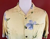 Caribbean Joe Yellow 100% Silk Tropical Floral Hawaiian Camp Shirt Mens Large