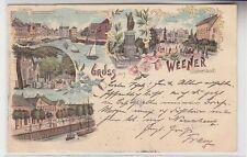 71581 Ak Lithographie Gruss aus Weener in Ostfriesland 1898