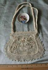 "Antique Old c1900 Irish Crochet Bridal Bag~Wedding,Lace~L-6.5&#0 34; X W-8"""