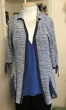 Zoè Stretchy Nylon Art to Wear Blue & White Gored Blouse W/Mismatched Buttons L
