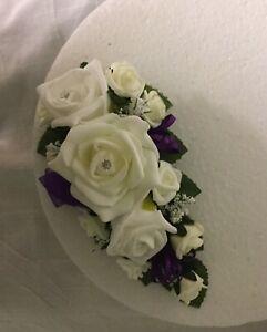 beautiful wedding flowers roses & bud purple rbbons cake single Trailing topper