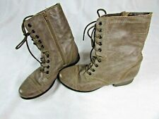 Women's Steve Madden Brown Leather Troopa Lace Up Boots Shoes 6.5 M