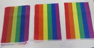 RAINBOW FLAG PARTY BUNTING-10 Flags 20 X 30cm  Mardi Gras Gay Pride
