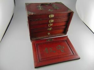 Beautiful Antique Chinese Mahjong Mah Jongg Set Thick Bone & Bamboo 148 Tiles