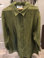 VIKKI VI Button Up Blouse 1X Green Crinkle Light Weight Long Tunic Plus Size