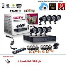 KIT VIDEOSORVEGLIANZA 8 CANALI TELECAMERA HARD DISK320GB+DVR+ALIMENTATORE+CAVI