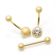 Belly Button Ring and Tongue Ring Barbell Package of 3 Sand Finish CZ Jewelry