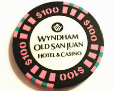 $100 WYNDHAM BLACK PINK Casino Chip OLD SAN JUAN Harbor Puerto Rico Bud Jones