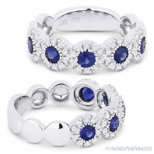 1.06 Ct Round Blue Sapphire 18k White Gold Ring