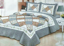 Luxury Poly-Cotton 3pcs Quilted Queen Patchwork Bedspread Coverlet Comforter Set
